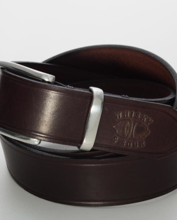 Men´s Leather Belt with polished Pewter Buckle and Keeper